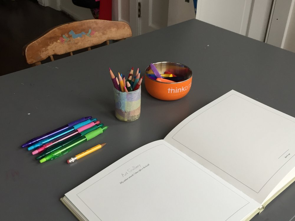 Testing markers, colored pencils, pens and crayons before my friend Lila arrives.