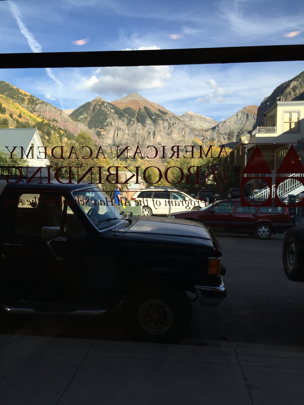 Looking out from my work bench at the American Academy of Bookbinding in Telluride, CO