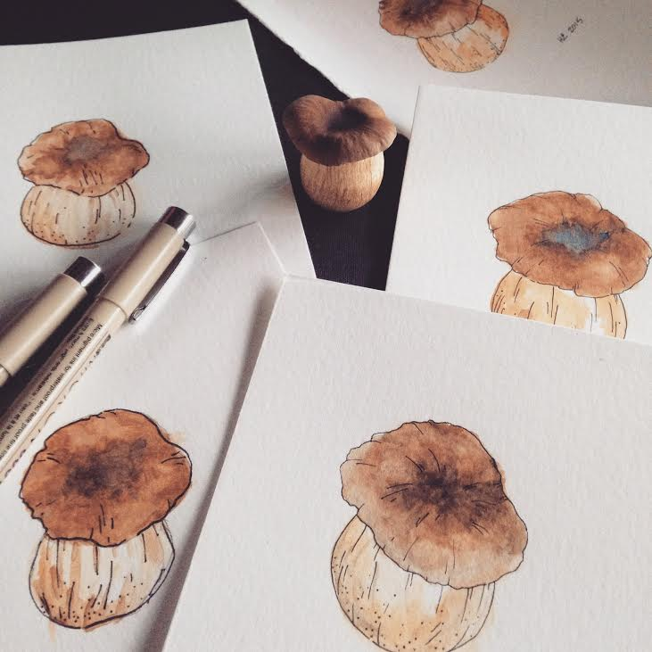 got to do some watercolors of the Pioppino mushroom we grew at SnowMansion