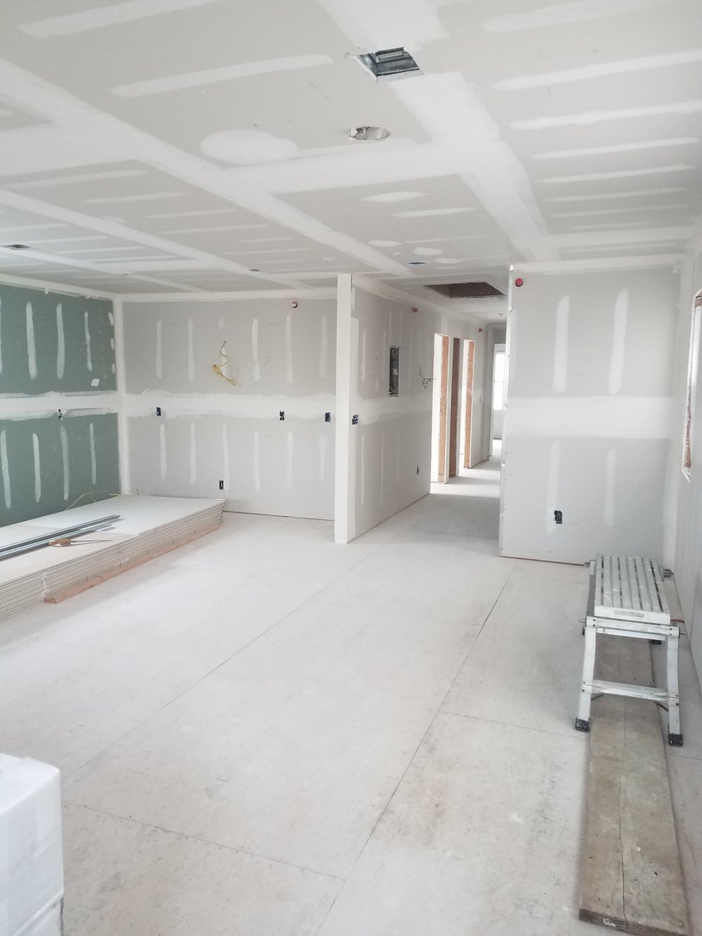 Living Room, Dining Room, and Kitchen Drywall