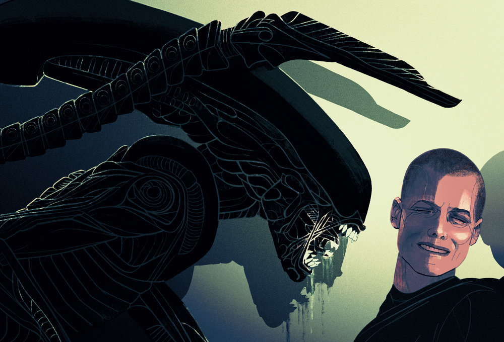 Unused illustration of Alien 3.