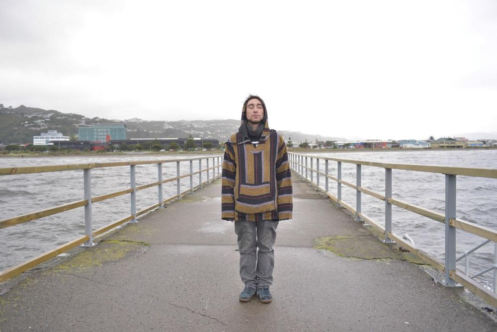 Actor Jacob Chick on location - Petone Wharf, Wellington.