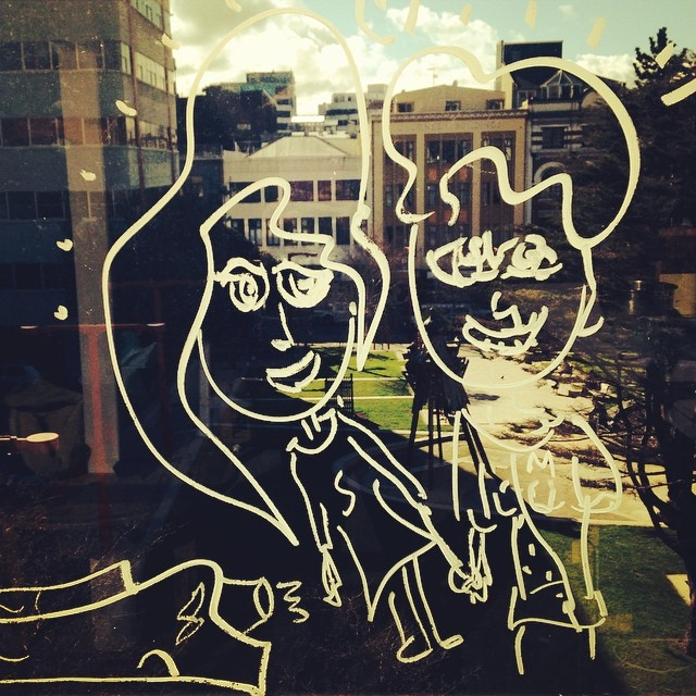 ABOVE Illustration of Sophi and Mark, created on the window of our first studio home in Wellington by Lance Ravenswood.