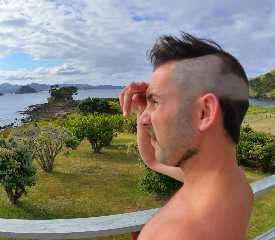 ABOVE Mark the champion of extreme hair make-overs, Great Barrier Island, NZ.