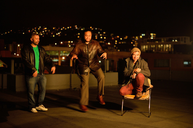 The talented, humble and funny lads of Trinity Roots - (l-r) Rio  Hunuki-Hemopo   , Ben Lemi + Warren Maxwell.   Having a laugh on the roof of  our Garrett St studio as we attempt a photo shoot in the cold evening air.