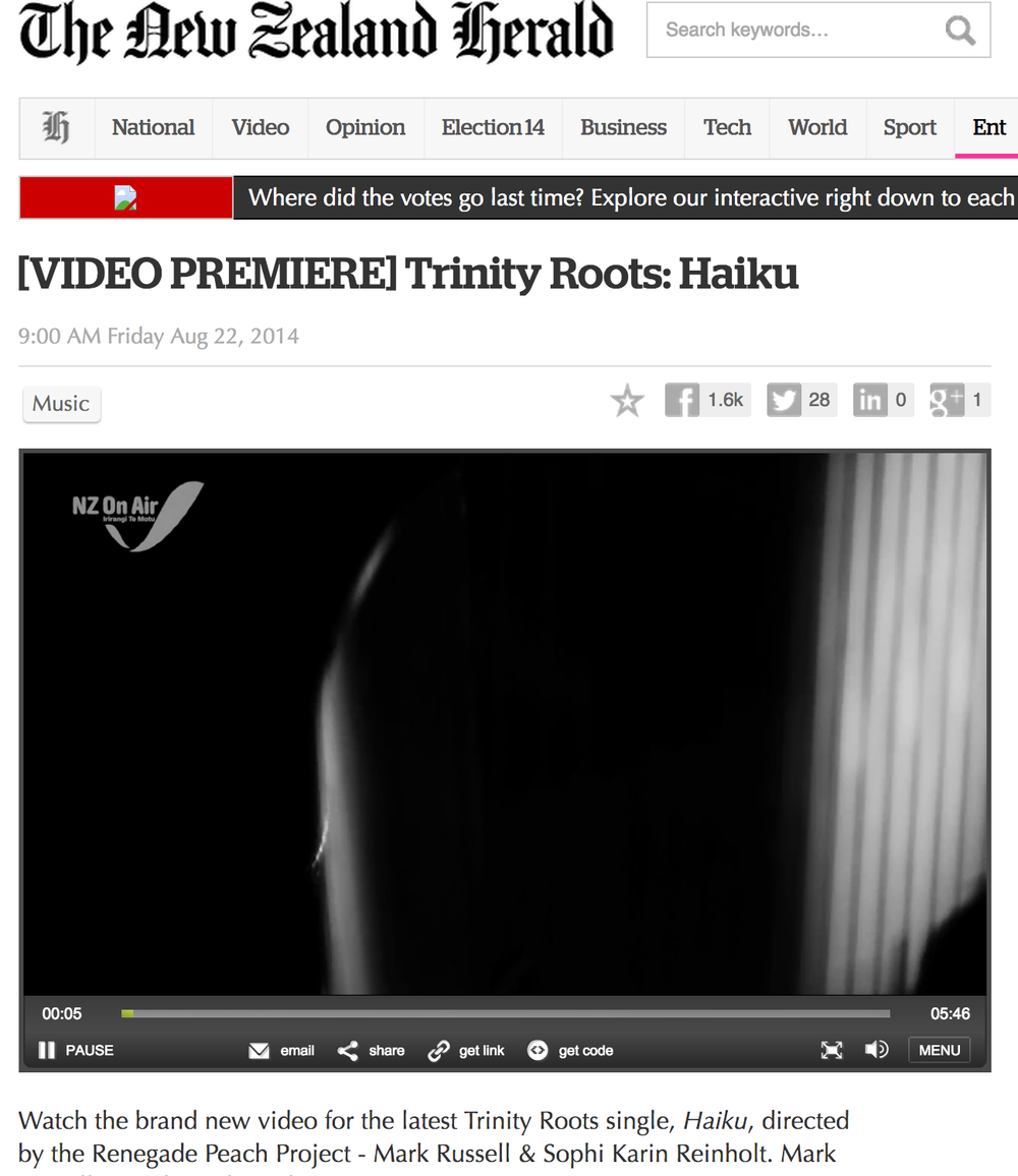 The NZ Herald online premiere's Trinity Roots -  Haiku  (filmed + edited by The Renegade Peach Project)