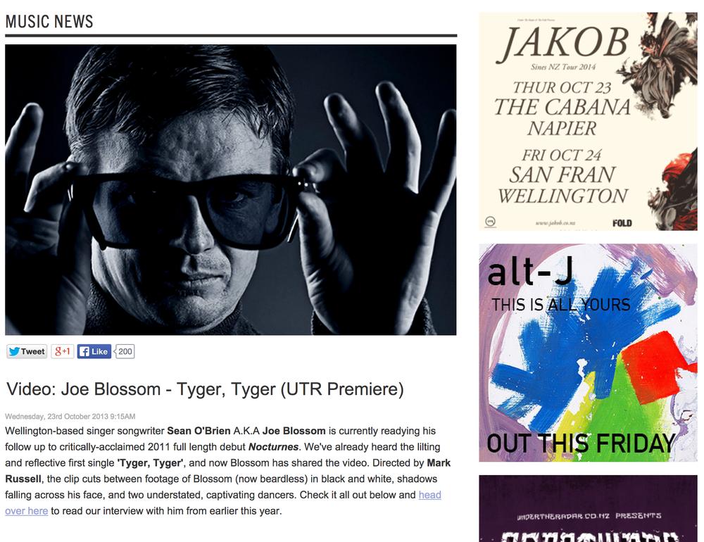 UTR Premiere of Joe Blossom -  Tyger Tyger. Dir Mark Russell.