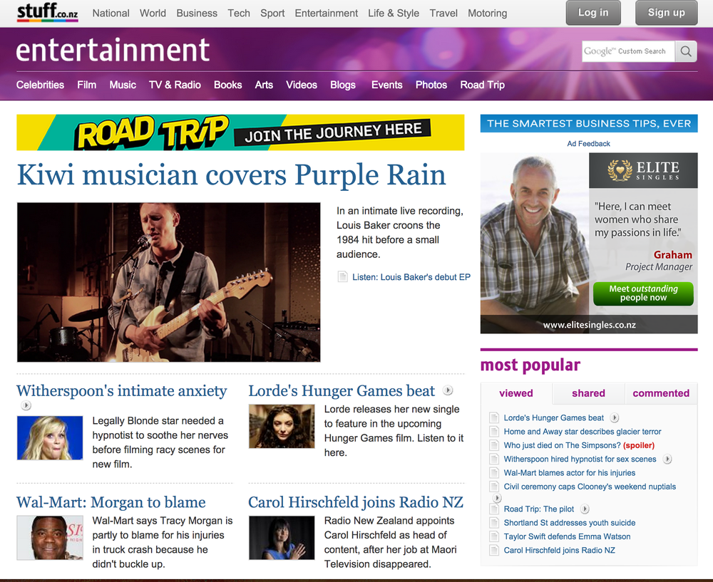 "Stuff.co.nz feature our video of Louis Baker's cover of ""Purple Rain"" for the Aston Road Sessions (LIVE). 30/09/14"