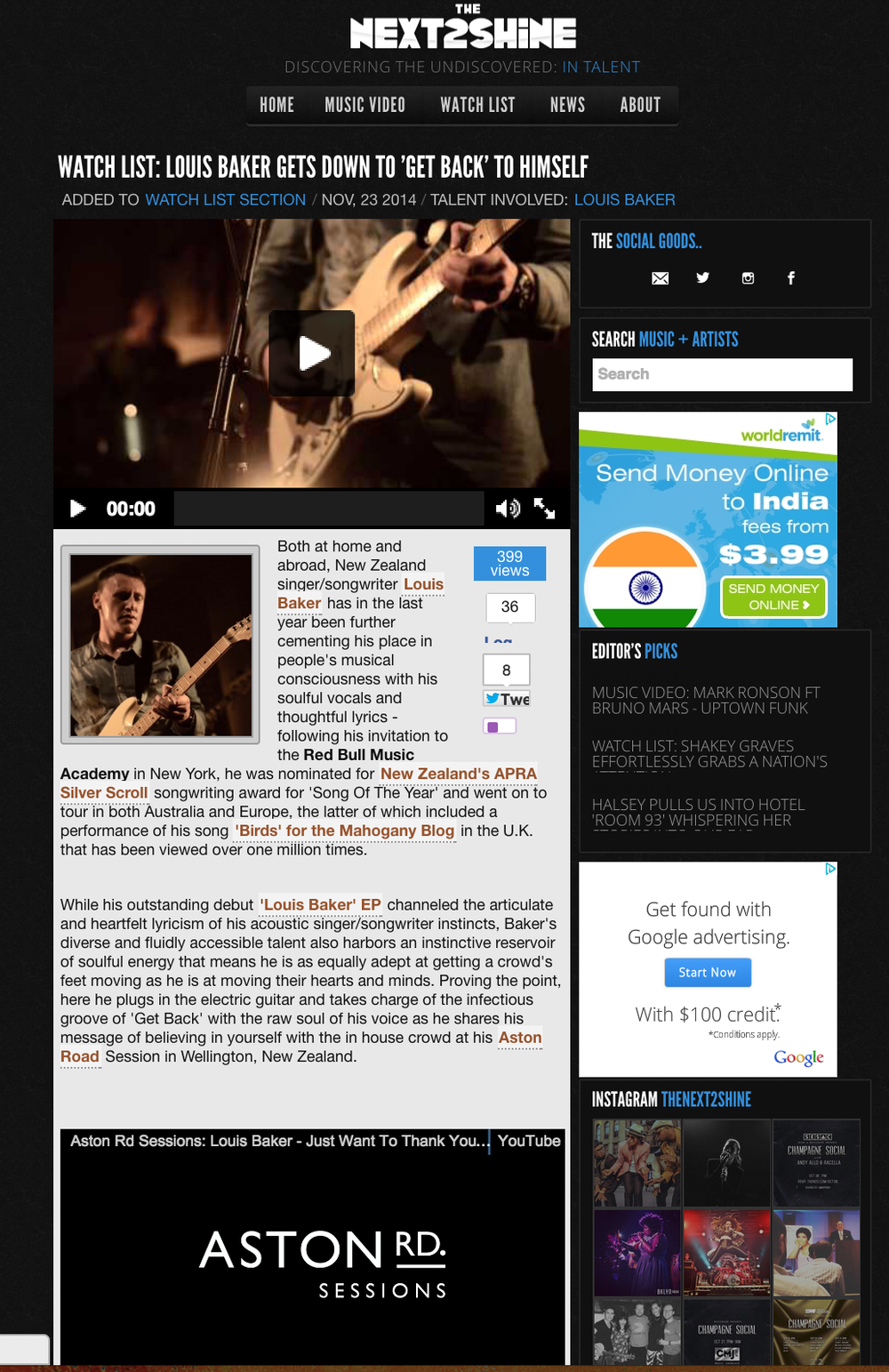 "Our video of Louis Baker's Aston Rd Sessions (live) ""Get Back"" featured on TheNext2Shine.com's Watch List."