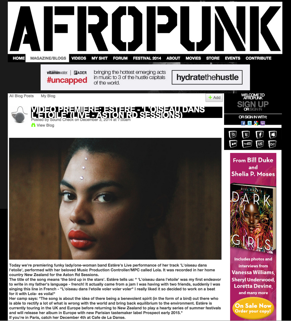 "AFROPUNK premiered our video of  Estère 's final Aston Road Sessions (live) performance of ""L'oiseau dans l'etoile"""