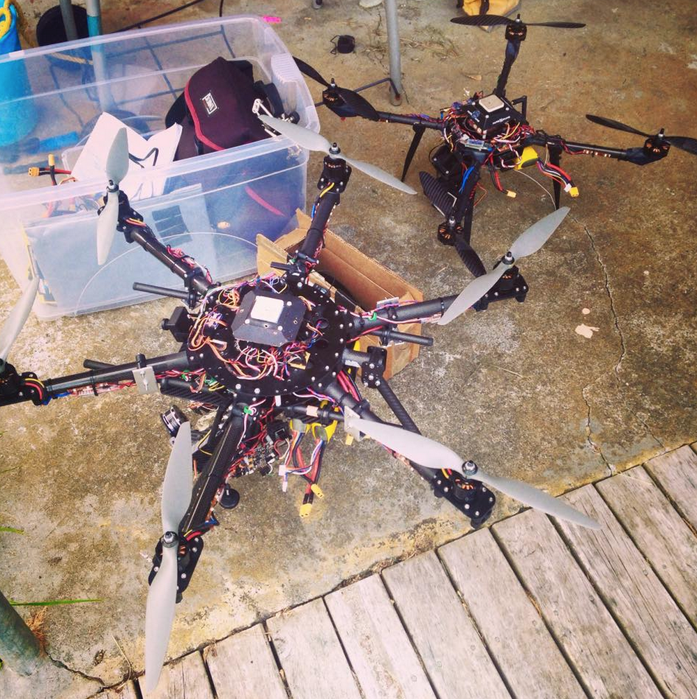 Two of the  Aerial Vision  drones used during the RISKY filming on Great Barrier Island.
