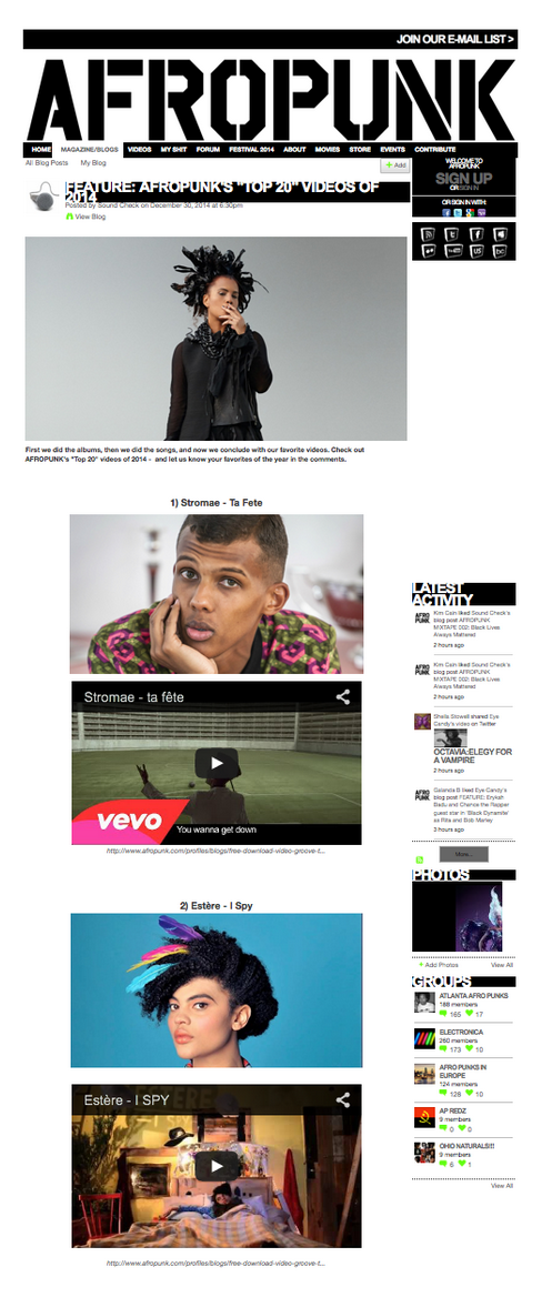 AFROPUNK Top 20 Music Videos 2014 Our video for Estère's I SPY came in at #2.