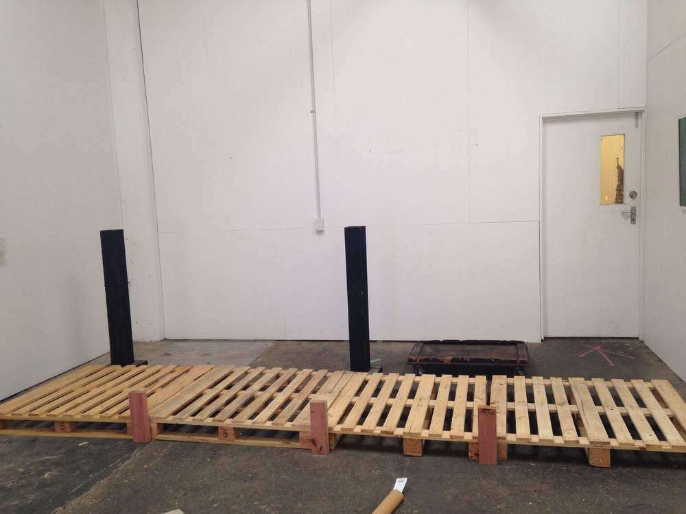 Above:   The jetty in its early stages - and the naked space before set dressing!