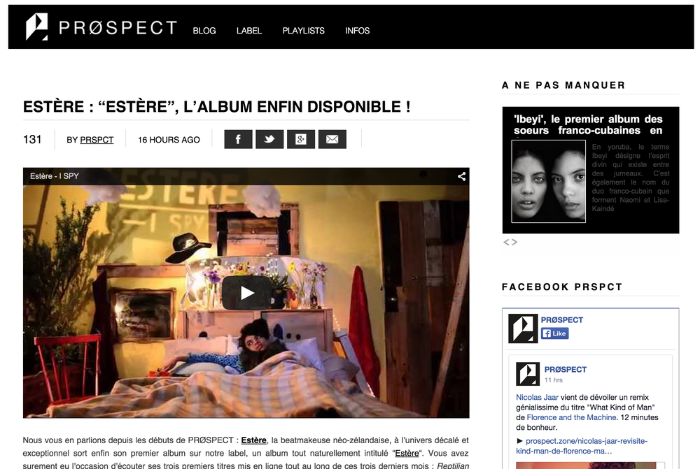 French record label PRØSPECT debuted Estère's first self-titled album online with a link to the video I Spy.