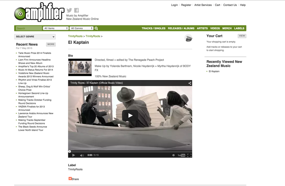 "Amplifier NZ featuring our video for Trinity Roots ""El Kaptain""."