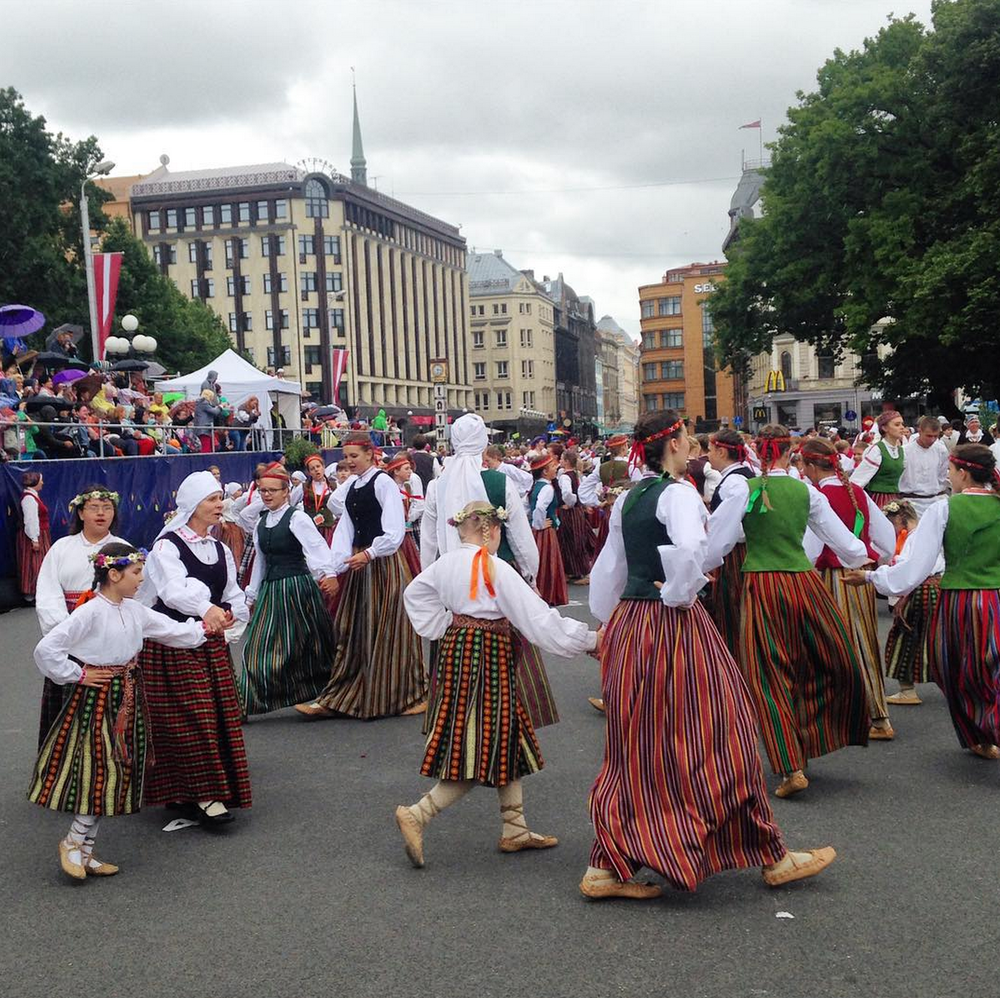 Traditional folk dancing, Riga, Latvia
