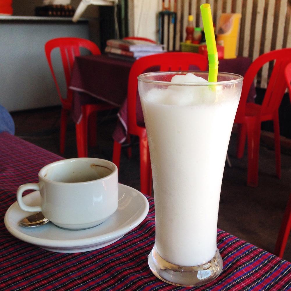 New breakfast regime - coffee & unbelievably tasty coconut shake
