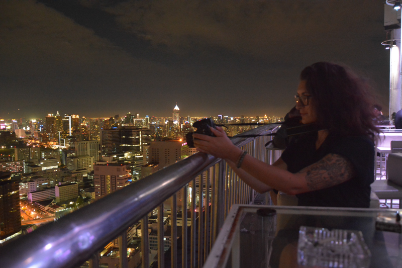 Filming from a rooftop bar, Bangkok
