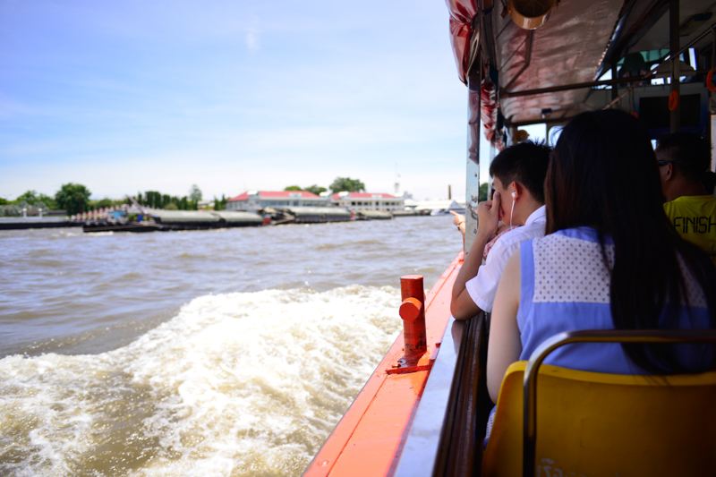 Travelling by river ferry boat