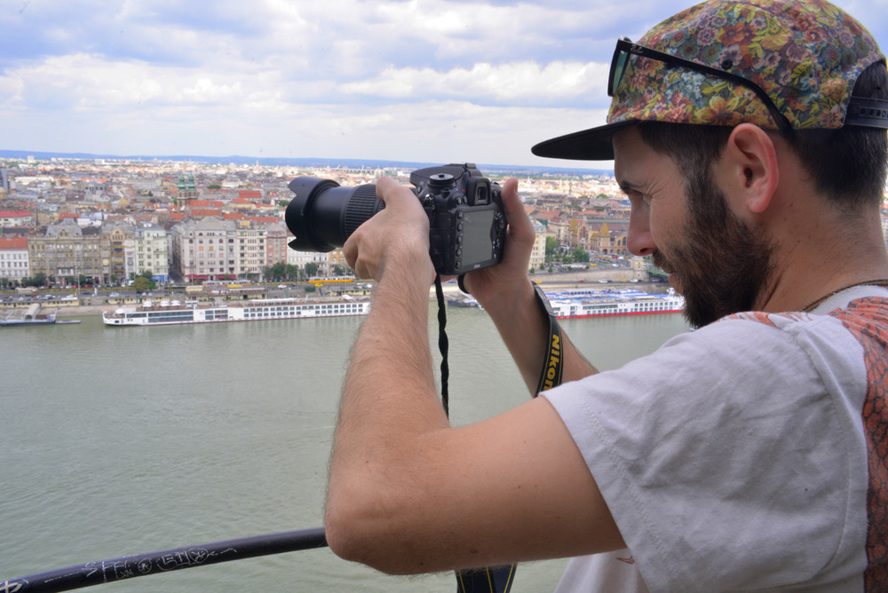 Mark filming over Budapest