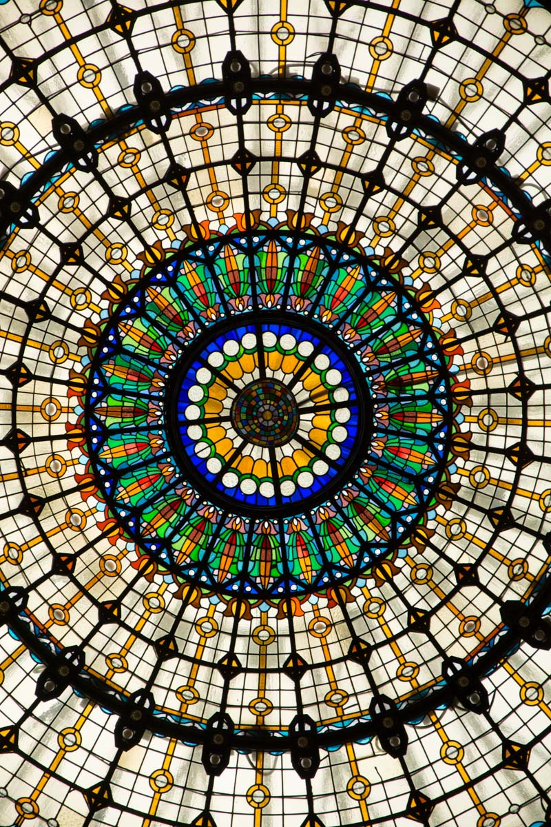 A glass ceiling detail at Gellert   thermal pools, Budapest.