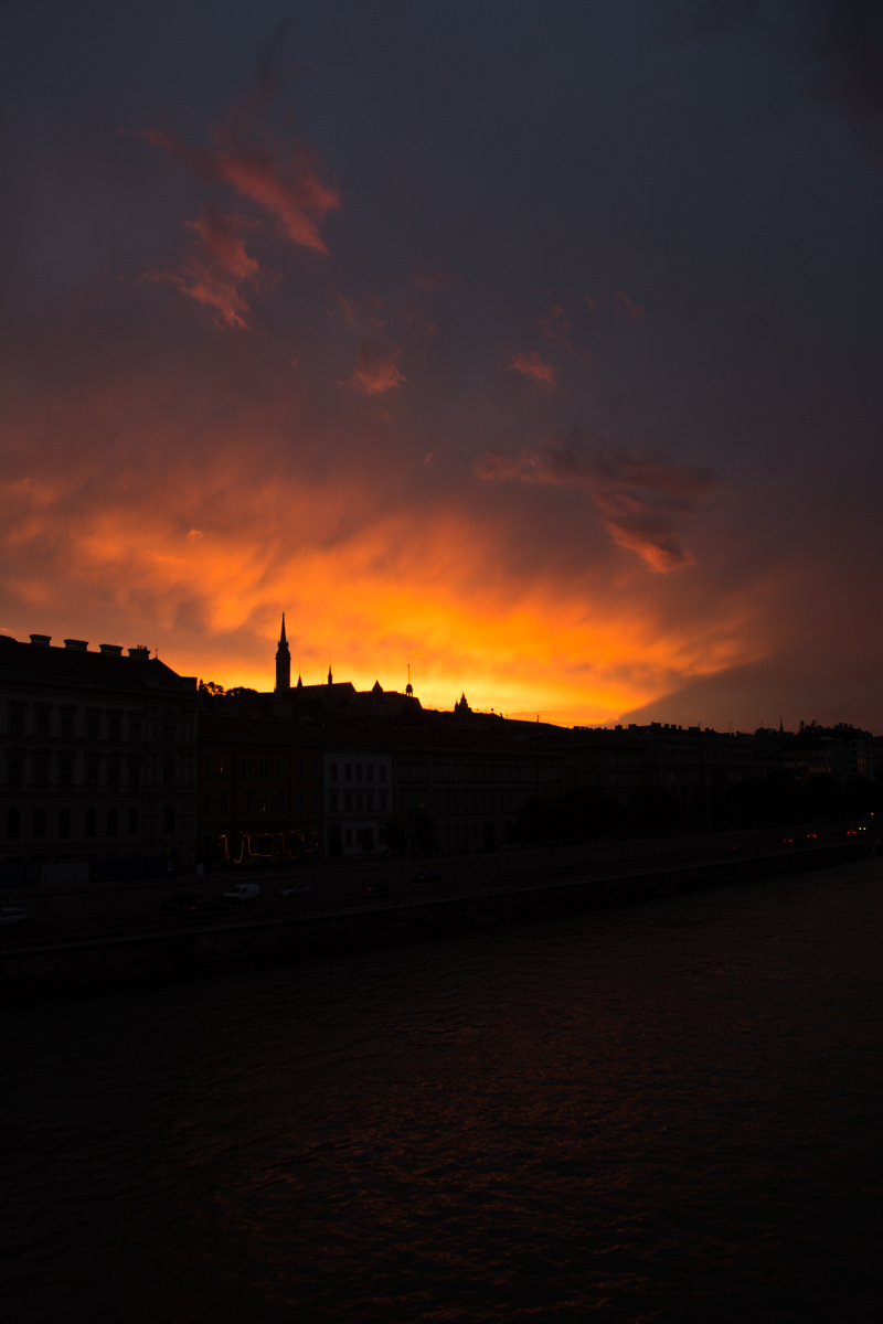 The Budapest sky on fire.