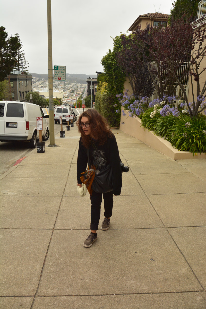Walking up towards the steepest street in San Fran.