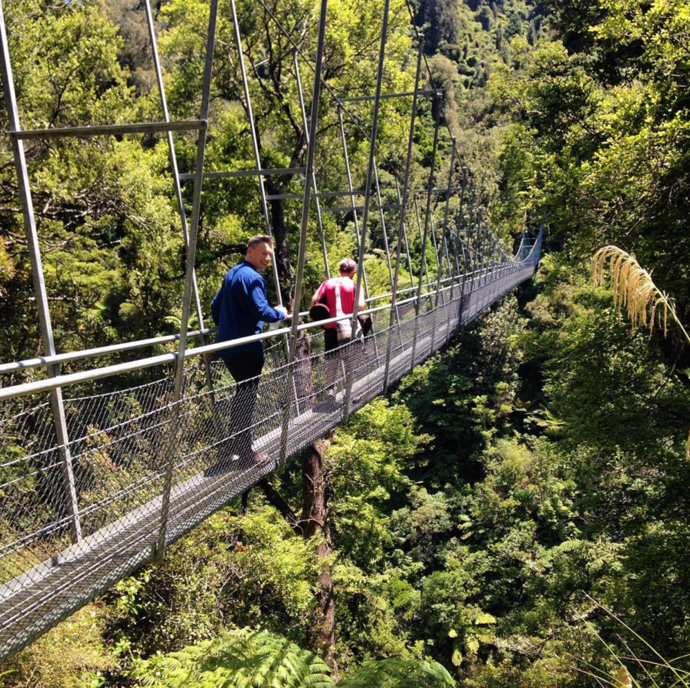 Crossing the swingbridge across the Waiohine Gorge.