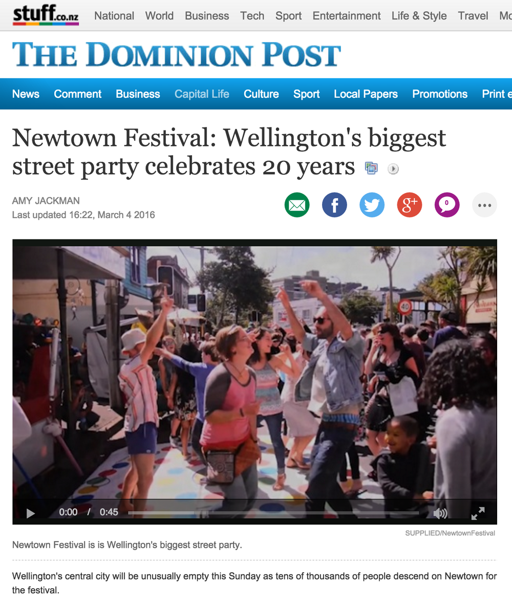 The Dominion Post online  featuring our 45second promo video for Newtown Festival.