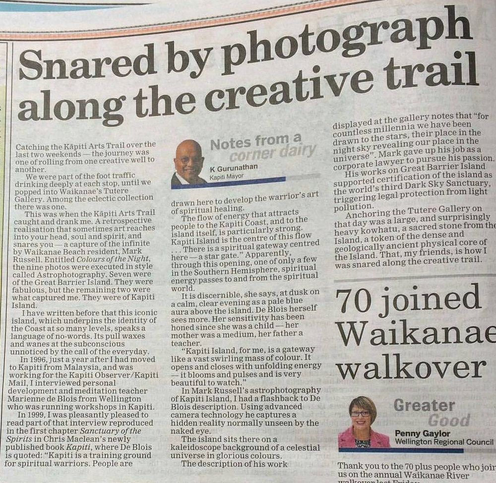 Article by Kapiti Coast mayor on Mark's starscape over Kapiti Island exhibited at Tutere Gallery, Waikanae