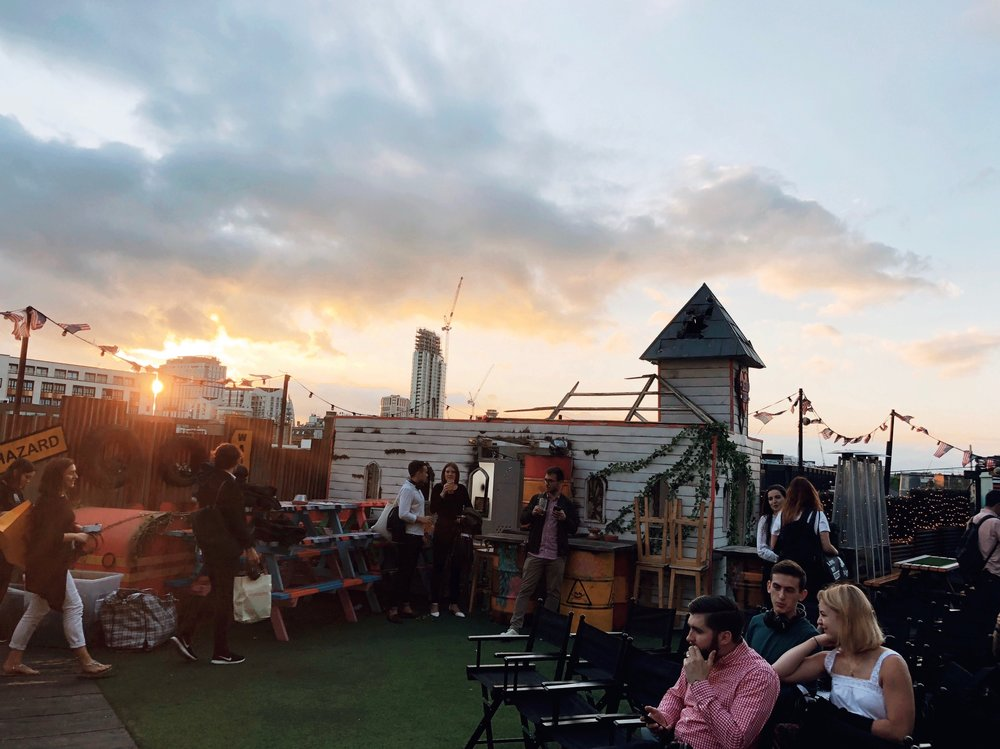 we saw a rooftop film in Shoreditch
