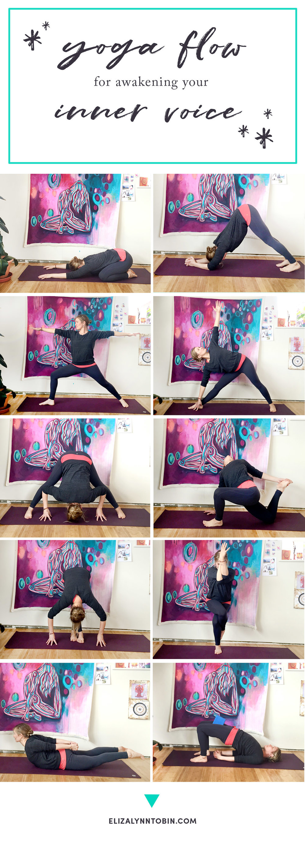 From left to right: Child's Pose, Dolphin Pose, Warrior II, Triangle, Prasarita Padottanasana (wide legged forward fold), Twisted Lizard Pose, Uttanasana (variation), Eagle Pose, Salabhasana, Bridge Pose.