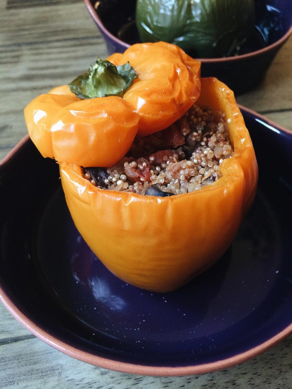 Mushroom Quinoa Stuffed Peppers #foodbymars #vegan #glutenfree