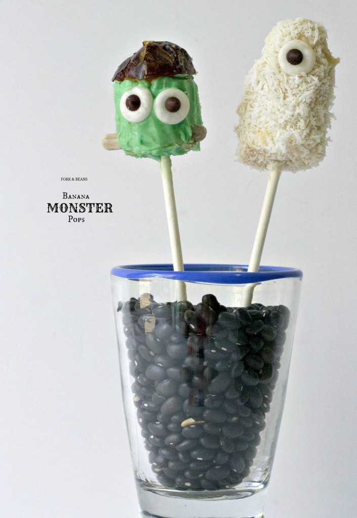 Banana Monster Pops from forkandbeans.com (CLICK FOR RECIPE)