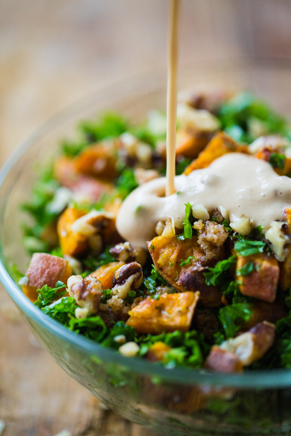 Pinch of Yum's ROASTED SWEET POTATO SALAD WITH CANDIED WALNUTS