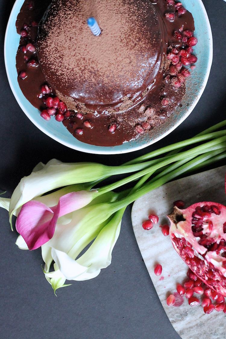 Chocolate Buckwheat Crepe Cake w/ Peanut Butter creme & pomegranates for Aquarius #foodbmars #gluten-free lactose-free