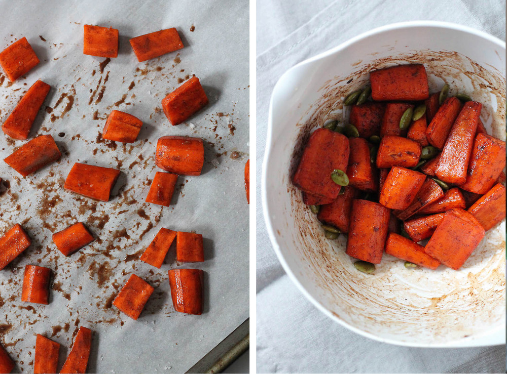 Roasted Maple Carrots with Pepitas