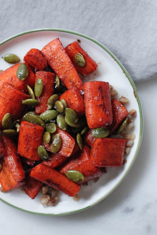 Maple Roasted Carrots with Pepitas #vegetarian #side