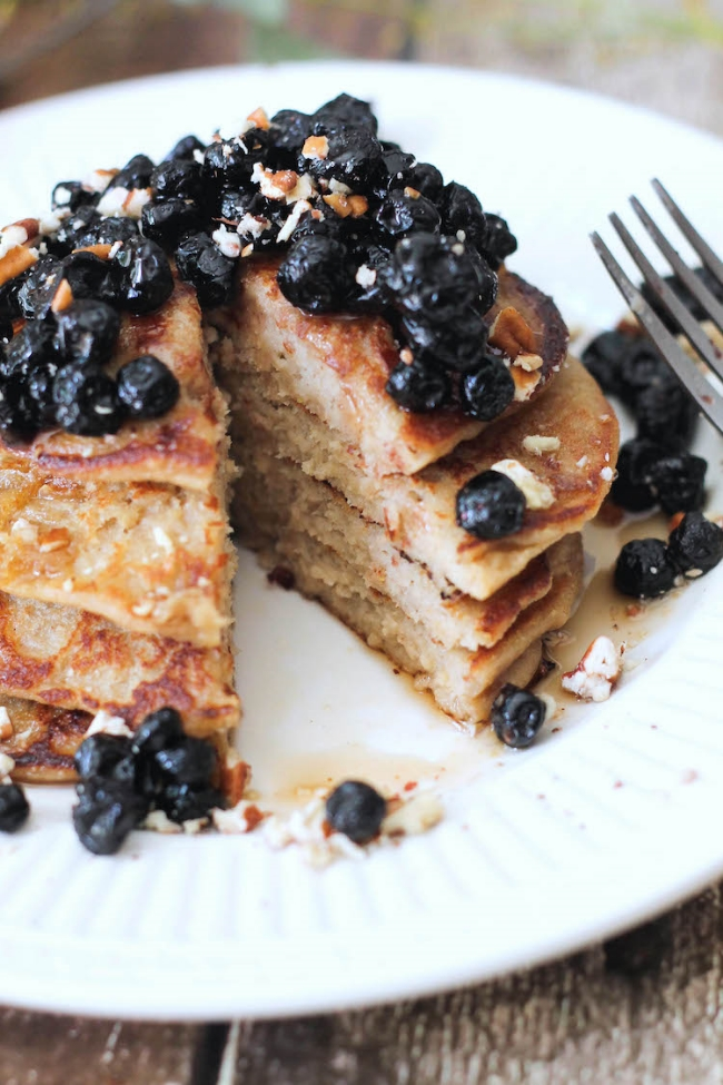 Vegan Lemon-Banana Ricotta Pancakes w/ dried blueberry compote (vegan ...