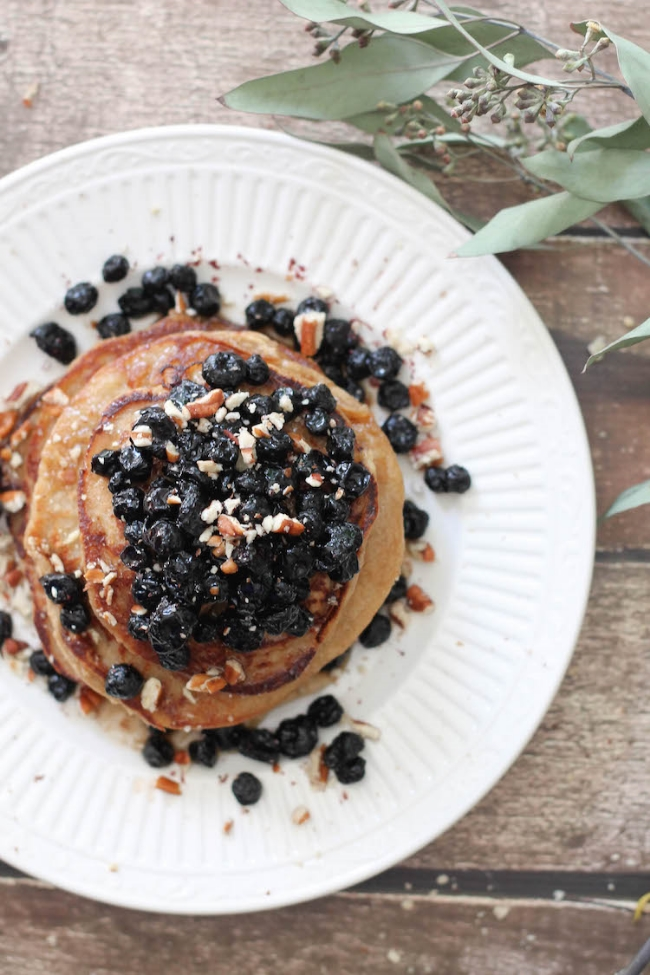 Vegan Lemon-Banana Ricotta Pancakes w/ dried blueberry compote (vegan & gluten-free)