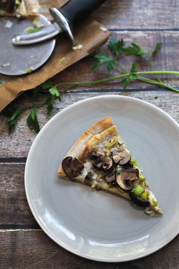 Mushroom & Leek Flatbread Pizza (Gluten-free & Vegan) made with Cassava Flour