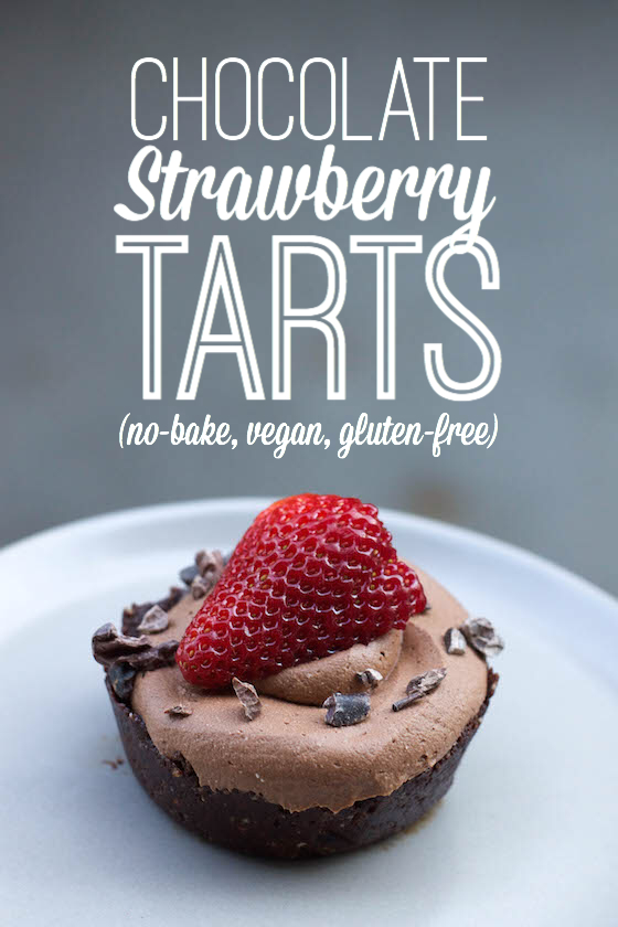 Chocolate Strawberry Tarts (no-bake, vegan, gluten-free) So easy!