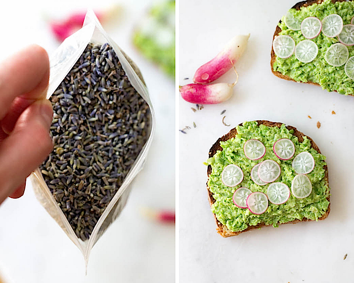 Spring Pea Toasts (w/ Radish & Lavender - Vegan & Gluten-free) from Food by Mars