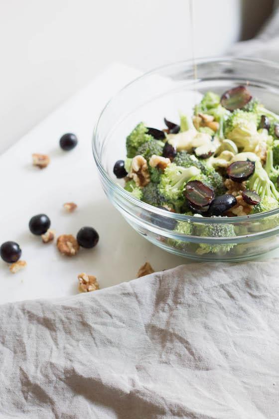 Raw Curry Broccoli Salad with Grapes & Walnuts (vegan, gluten-free) via Food by Mars