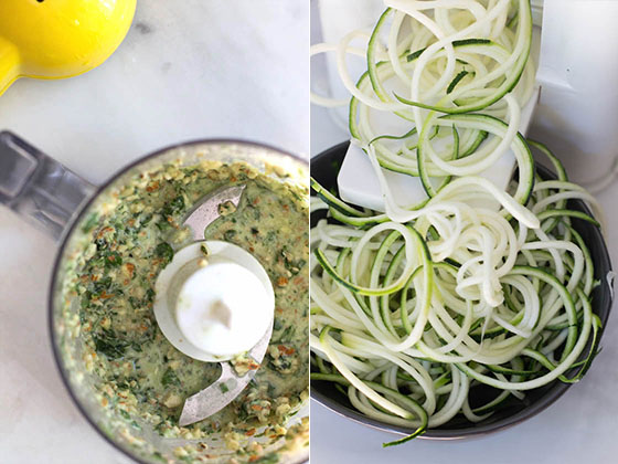 Brunch Zoodles with Lemon Almond Pesto via Food by Mars (gluten-free, vegetarian)