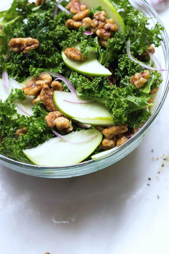 Kale, Apple & Maple Pecan Salad (vegan, gluten-free) via Food by Mars