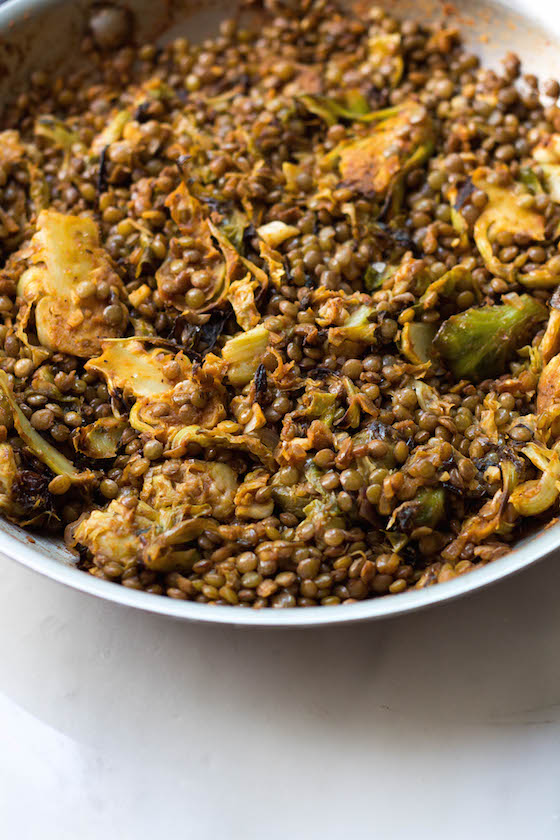 Lentils & Brussels Sprouts (vegan, gluten-free) via Food by Mars