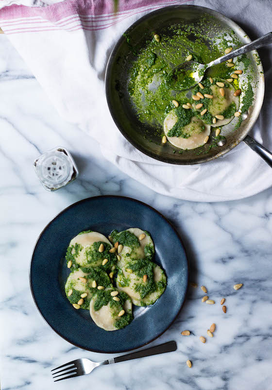 Squash Ravioli with Kale Pesto & Pine Nuts (gluten-free, grain-free, vegan) via Food by Mars