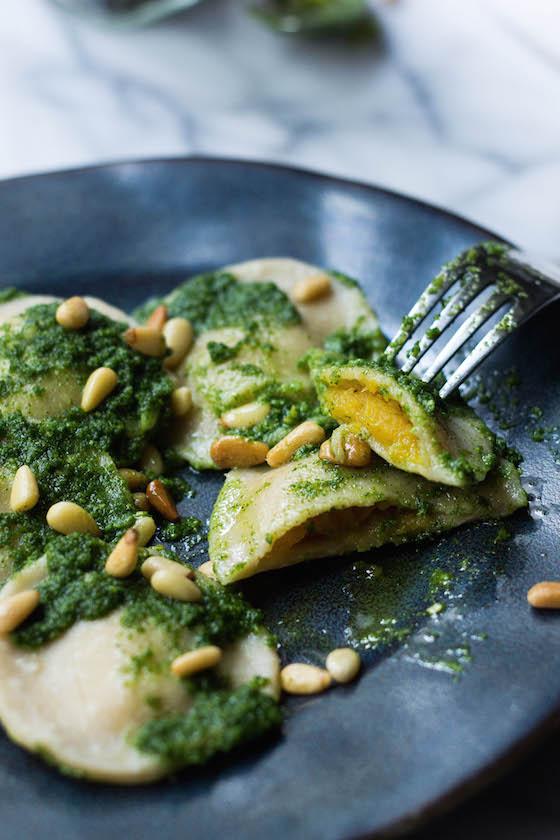 Squash Ravioli w/ Kale Pesto and Pine Nuts (gluten-free,grain-free,vegan) via Food by Mars
