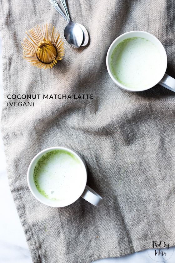 Coconut Matcha Latte (vegan, dairy-free) made with matcha green tea powder and coconut milk via Food by Mars